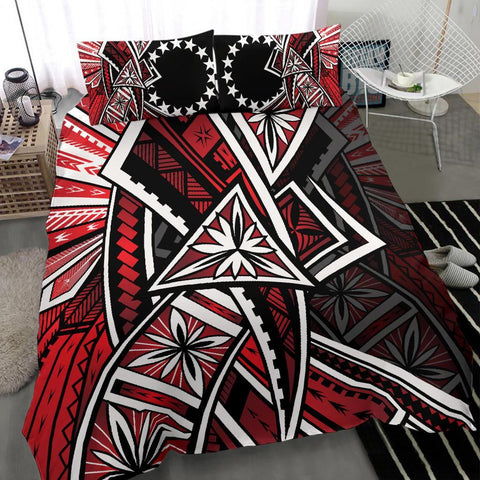 Image of Cook Islands Bedding Set -  Tribal Flower Special Pattern Red Color - BN20