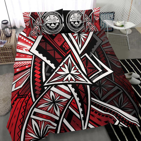 Federated States Of Micronesia Bedding Set - Tribal Flower Special Pattern Red Color - BN20