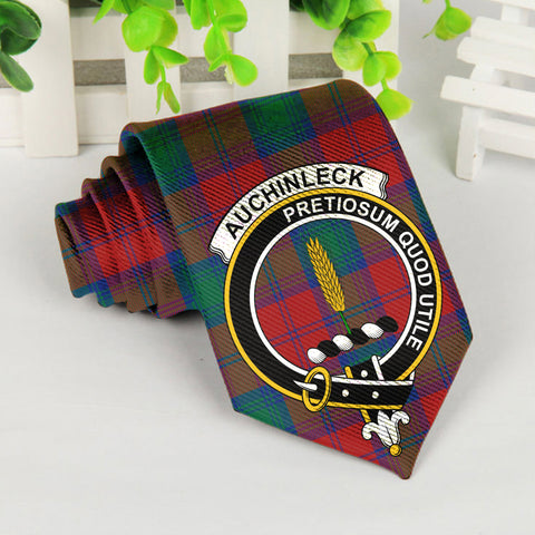 Image of Auchinleck Tartan Tie with Clan Crest TH8