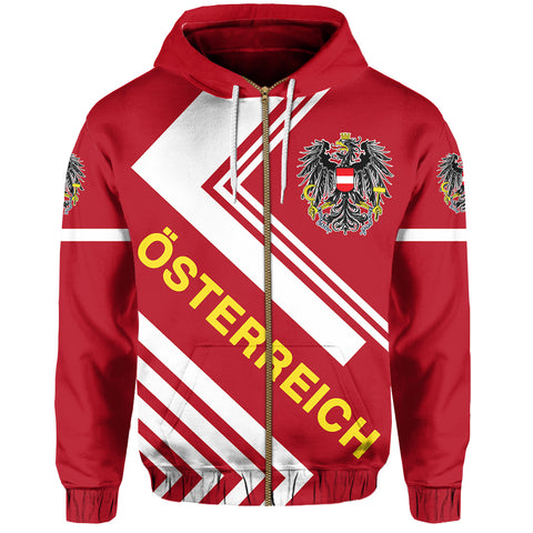 Austrian Hoodie Zip - Flag European Nations Style