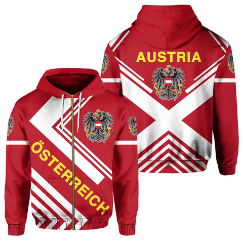 Austria Hoodie Zip - Flag European Nations Style