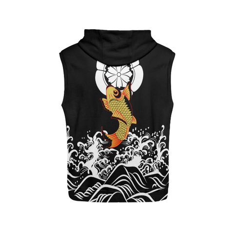 The Golden Koi Fish Zipper Sleeveless Hoodie A7