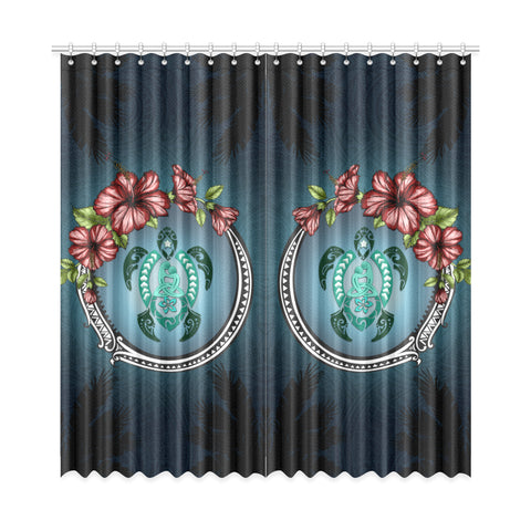 Image of Kanaka Maoli (Hawaiian) Window Curtain -  Polynesian Ohana Turtle Hibiscus Mother Son A24
