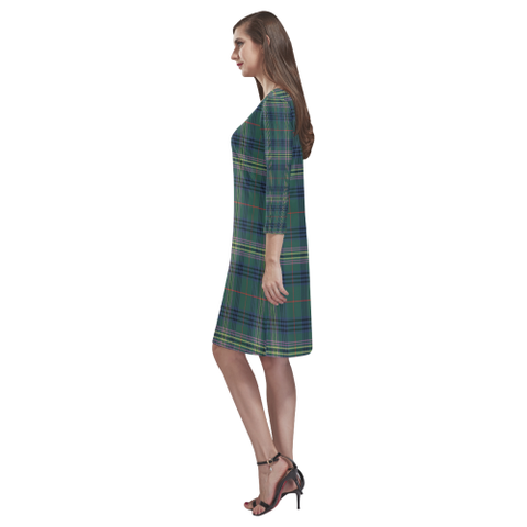 Image of Tartan dresses - Kennedy Modern Tartan Dress - Round Neck Dress - BN