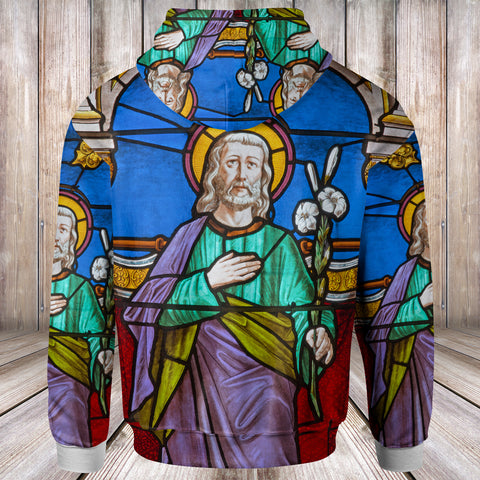 1sttheworld Hoodies - St. Joseph on the windowpane of St. John the Evangelist church - BN17