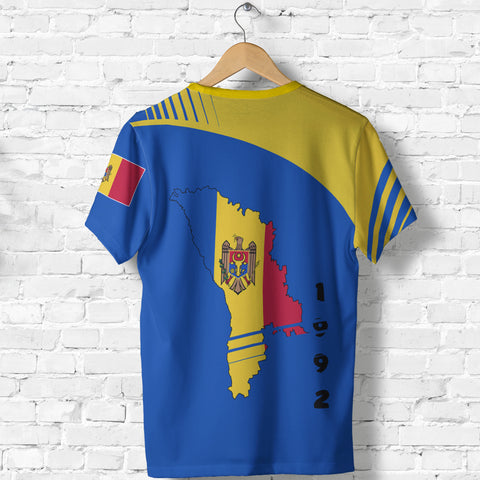 Moldova T Shirt - Winner Ultra Edition II - Blue and Yellow - Back - for Men and Women