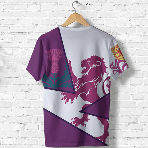 Image of Scotland T Shirt - Cottish Royal Lion 1990s - Purple - Back - for Men and Women