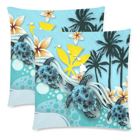 Hawaii Pillow Cases - Blue Turtle Hibiscus A24