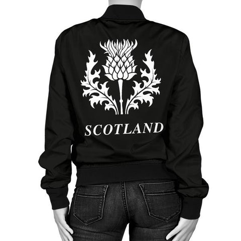 Buchanan Tartan Lion And Thistle Bomber Jacket For Women Th8