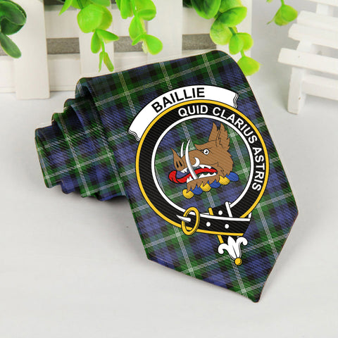 Baillie Tartan Tie with Clan Crest TH8