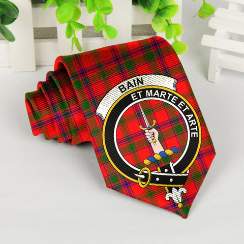 Image of Bain Tartan Tie with Clan Crest TH8