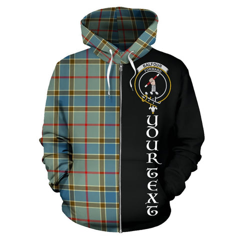 (Custom your text) Balfour Blue Tartan Hoodie Half Of Me | 1sttheworld.com