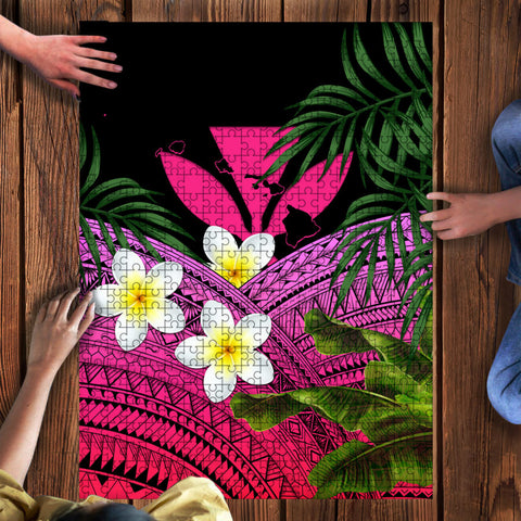 Image of Kanaka Maoli (Hawaiian) Puzzle, Polynesian Plumeria Banana Leaves Pink | Love The World