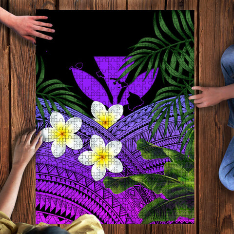 Image of Kanaka Maoli (Hawaiian) Puzzle, Polynesian Plumeria Banana Leaves Purple | Love The World