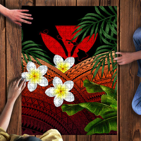 Image of Kanaka Maoli (Hawaiian) Puzzle, Polynesian Plumeria Banana Leaves Red | Love The World