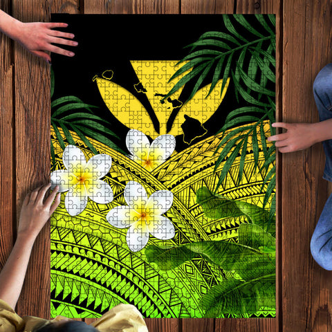 Image of Kanaka Maoli (Hawaiian) Puzzle, Polynesian Plumeria Banana Leaves Yellow | Love The World