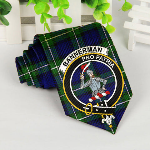 Image of Bannerman Tartan Tie with Clan Crest TH8
