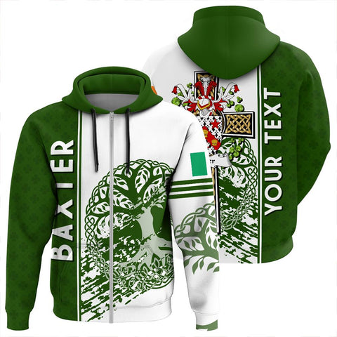 Image of Baxter Irish Celtic Cross Custom Zip Hoodie| 1sttheworld