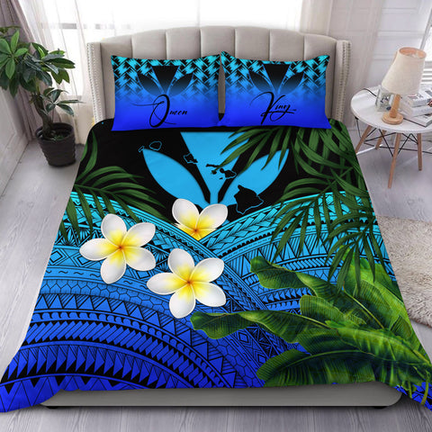 Image of (Custom) Kanaka Maoli (Hawaiian) Bedding Set, Polynesian Plumeria Banana Leaves Blue Personal Signature A02