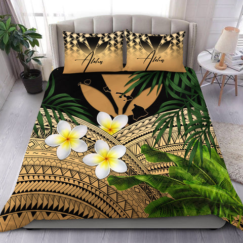 (Custom) Kanaka Maoli (Hawaiian) Bedding Set, Polynesian Plumeria Banana Leaves Gold Personal Signature A02