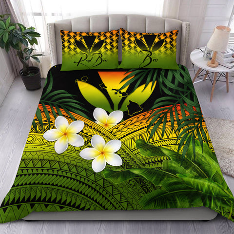 Image of (Custom) Kanaka Maoli (Hawaiian) Bedding Set, Polynesian Plumeria Banana Leaves Reggae Personal Signature A02