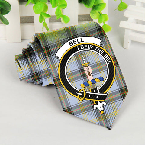 Bell Tartan Tie with Clan Crest TH8