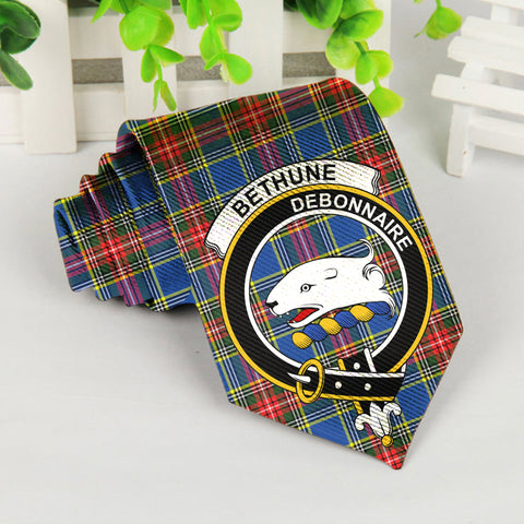 Bethune Tartan Tie with Clan Crest TH8