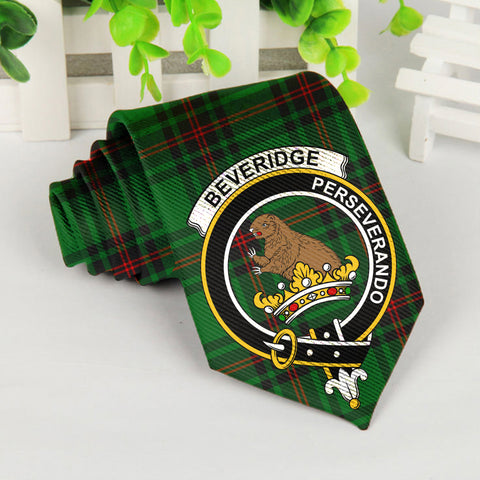 Beveridge Tartan Tie with Clan Crest TH8