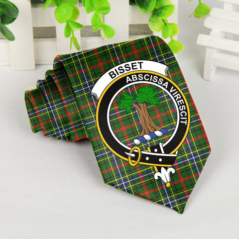 Bisset Tartan Tie with Clan Crest TH8