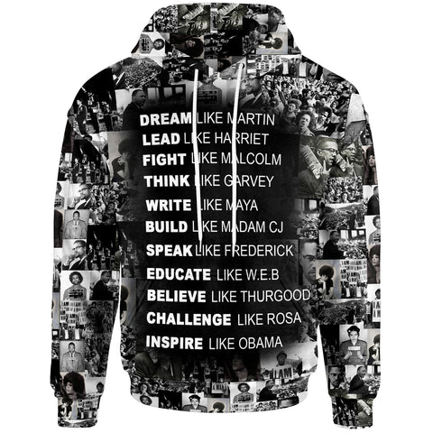 African Hoodie - Black Heros Black History African American Civil Rights Leaders - BN39