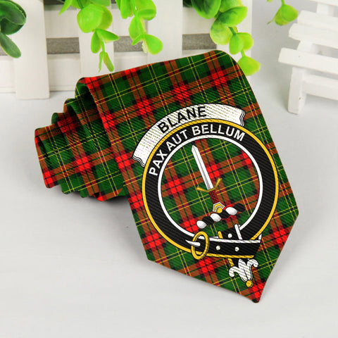 Blane Tartan Tie with Clan Crest TH8