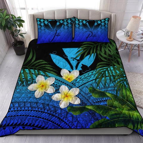 Image of (Custom) Kanaka Maoli (Hawaiian) Quilt Bed Set, Polynesian Plumeria Banana Leaves Blue Personal Signature A02