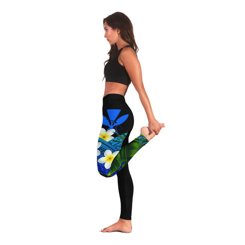 (Custom) Kanaka Maoli (Hawaiian) Leggings, Polynesian Plumeria Banana Leaves Blue Personal Signature A02