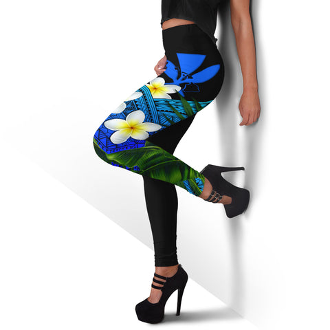 Image of (Custom) Kanaka Maoli (Hawaiian) Leggings, Polynesian Plumeria Banana Leaves Blue Personal Signature A02