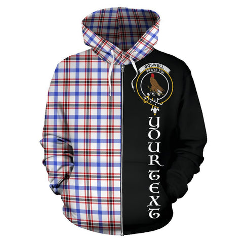 (Custom your text) Boswell Modern Tartan Hoodie Half Of Me | 1sttheworld.com