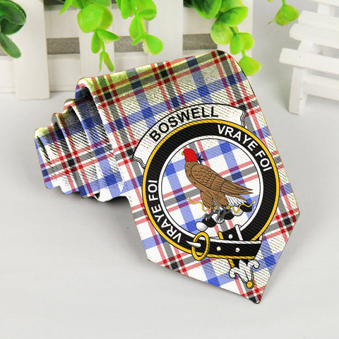 Boswell Modern Tartan Tie with Clan Crest TH8