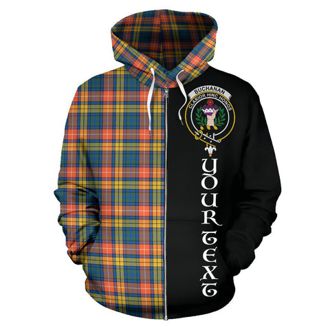 (Custom your text) Buchanan Ancient Tartan Hoodie Half Of Me | 1sttheworld.com
