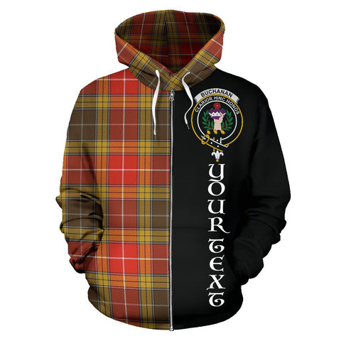 (Custom your text) Buchanan Old Set Weathered Tartan Hoodie Half Of Me | 1sttheworld.com