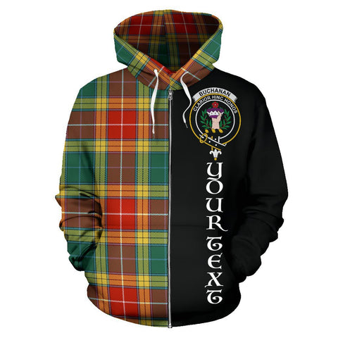 (Custom your text) Buchanan Old Sett Tartan Hoodie Half Of Me | 1sttheworld.com