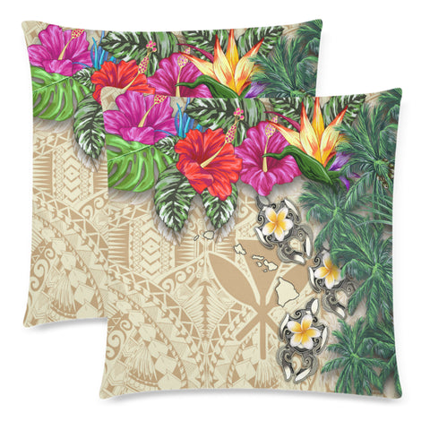 Kanaka Maoli (Hawaiian) Pillow Cases - Hibiscus Turtle Tattoo Beige A02