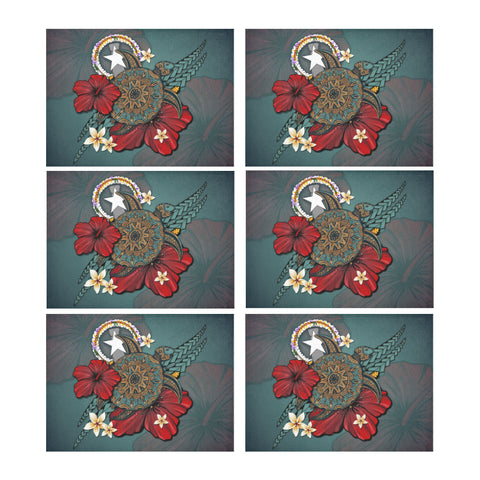 Northern Mariana Islands Placemat - Blue Turtle Tribal A02