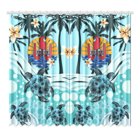 Tahiti Window Curtain - Blue Turtle Hibiscus A24