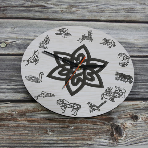 Image of celtic wooden wall clock, celtic, wooden wall clock, celtic animals wooden wall clock, celtic animals