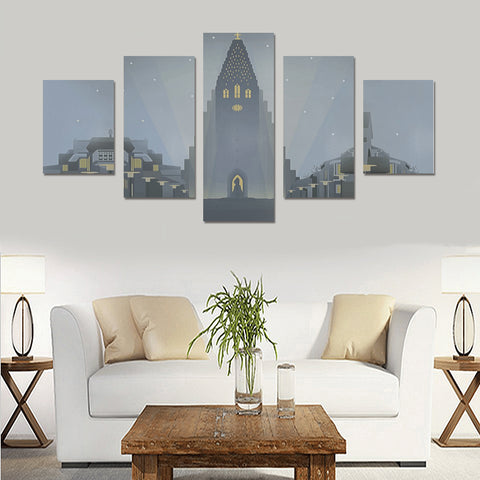 Image of Iceland Hallgríëí__mskirkja Keykjavik 5 Piece Framed Canvas(No Frame) th9