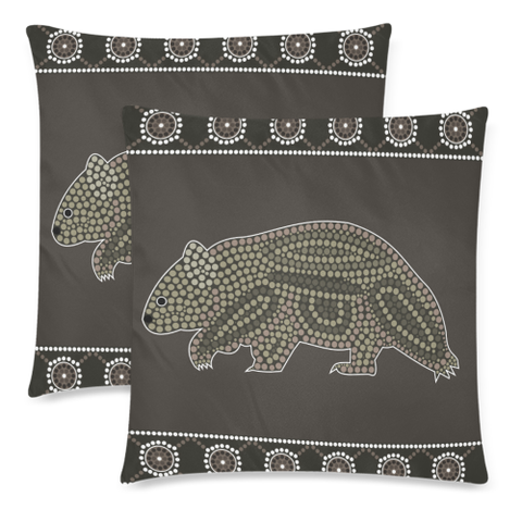 Image of Aboriginal Wombat Pillow Covers NN6