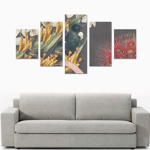 Image of New Zealand Tui Bird Pohutukawa 5 Piece Framed Canvas 02 th9 (No Frame)