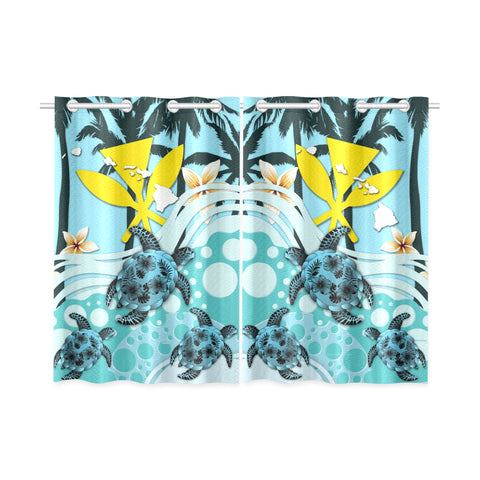 Image of Hawaii Window Curtain - Blue Turtle Hibiscus | Love The World