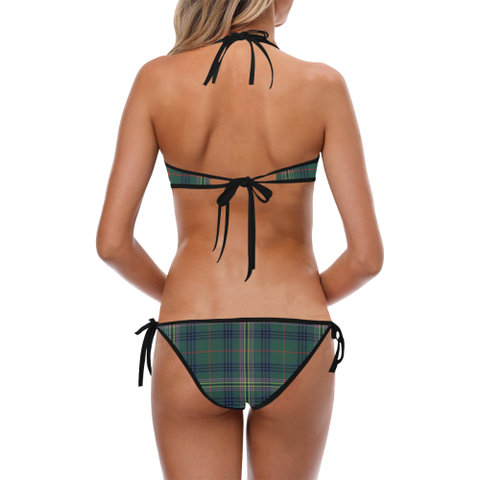 Image of Kennedy Modern Tartan Halter & Side Tie Bikini Swimsuit  - Love The World