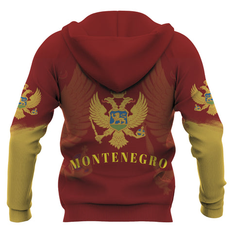 Montenegro Hoodie With Coat of Arms - Red Color - For Men And Women - Back
