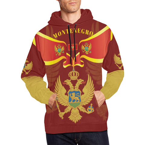 Montenegro Hoodie With Coat of Arms - Red Color - For Men